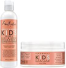 Shea Moisture Coconut & Hibiscus Kids Combo Pack - Includes Kids Curling Butter Cream, 6 Oz & Kids Curl & Shine 2-in-1 Shampoo & Conditioner, 8 Oz