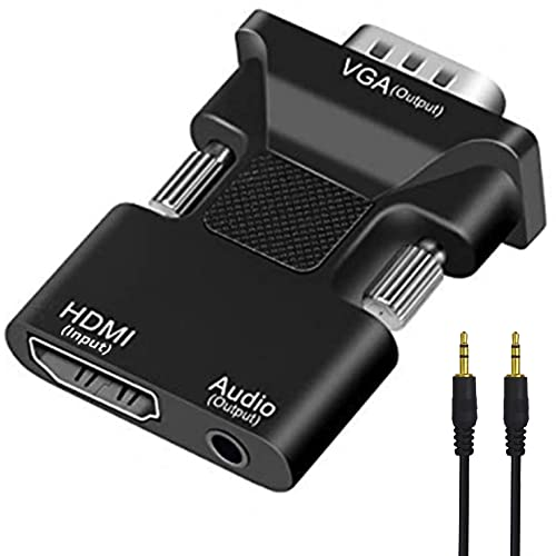 HDMI to VGA Adapter, HDMI Female to VGA Male Converter with Full HD 1080p Audio Video Output, For TV Stick, Xbox, Roku, Computer, Laptop, PC, Monitor, Projector, Chromebook