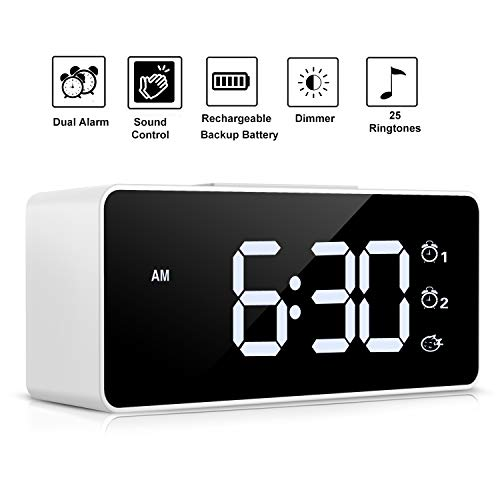 Digital Alarm Clock,Sound Control,Easy to Use,Dual Alarms,12/24 H,Snooze,25 Alarm Ringtones,Adjustable Volume&Brightness Dimmer,Rechargeable Backup Battery,Alarm Clock for Bedrooms,Bedside,Kids(White)
