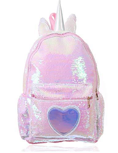 Pizoff Mädchen Einhorn Pailletten Rucksäcke Schultasche Unicorn Kinderrucksack Jungen Glitzer Leichtgewicht pink