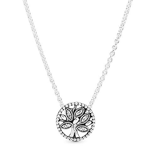 """Pandora Jewelry Sparkling Family Tree Cubic Zirconia Necklace in Sterling Silver, 17.7"""""""