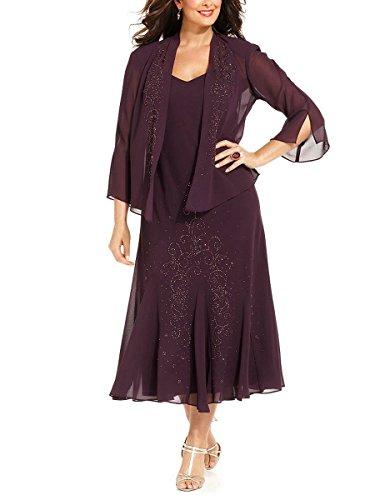 R&M Richards Women's 14W- 34W Plus Size Beaded Jacket Dress - Mother of The Bride Dresses (Eggplant, 14W)