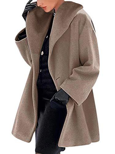 Onsoyours Damen Mäntel Schalkragen Casual Mantel Revers Lange Ärmel Winterjacke Einfarbig Mode Lange Coat Warme Outwear Elegant Einreiher Cardigan Jacke Oberbekleidung Braun 3XL