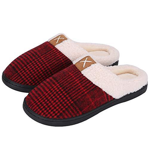 Puricon Femme Pantoufles Confortables, Chaussons d'hiver Anti-dérapante, Pantoufles en Coton et Doublure en Mousse Mémoire