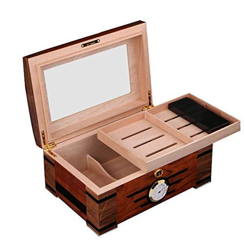 DS- Humidor Caja de cigarros, Caja hidratante, Madera de Cedro Caja de cigarros, la Ventana de Cristal Transparente, Caja de cigarros, cigarros Fumadores Gabinete && (Size : 35x23.8x16cm)