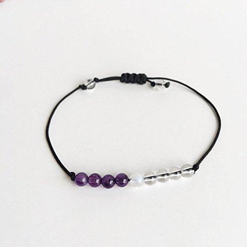 World Wide Gems Galaxy Jewelry - Pulsera de cuarzo de 3 a 6 mm, ajustable, de piedra lunar, redonda, lisa de 7 pulgadas para hombres, mujeres, gf, bf y adulto.