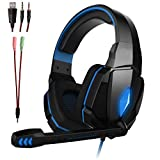 ZDZHU Gaming Headset for Xbox One PS4 PC - Surround Sound Over-Ear Headphones with 50mm Driver Unit,Noise Cancelling Mic, for Laptop/Mac/Nintendo Switch Game,B