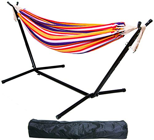 BalanceFrom Double Hammock with Space Saving Steel Stand and Portable Carrying Case, 450-Pound Capacity (Color #4), Hammock with Stand