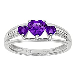 Silver Three Heart Shape Amethyst with 0.018 Diamonds cttw Ring