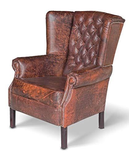 Casa Padrino Chesterfield Echtleder Ohrensessel Vintage Leder Dunkelbraun Wohnzimmer Sessel Möbel Büffelleder Sessel