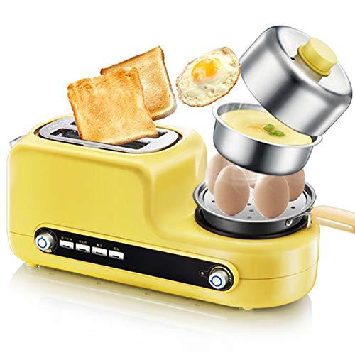 Tostadora con accesorio para panecillos 3 en 1 de Kitchen Tostadora con huevo, huevo frito Household Breakfast Bandeja recogemigas extraíble, 6 niveles de tostado