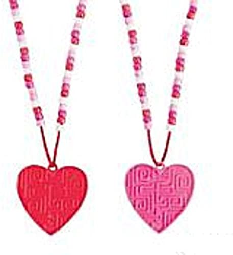 Valentine Heart Maze Beaded Puzzle Necklaces - 12 pack by Oriental Trading Company, Inc.