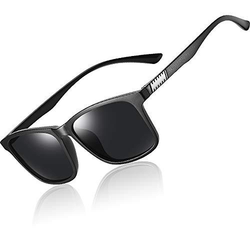 UV STYLISH Polarisierte Sonnenbrille Herren Damen - Retro Vintage Verspiegelt Sonnenbrille - Männer Groß Sonnenbrillen (Schwarz)