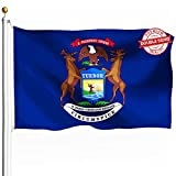 DFLIVE Double Sided Michigan State Flag 3x5ft Heavy Duty Polyester 3 Ply MI Flags Indoor and Outdoor Use