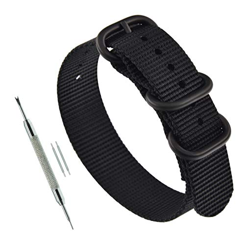 20mm Black Men's Zulu Strap 3 Ring NATO Style Watch Bands Replacement PVD Buckle