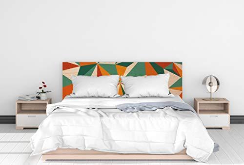Deco&Fun - Cabecero Cama Madera Impreso Geometric Orange 200x60cm para Cama de 180 - Medidas 100, 115, 150, 200 -Cabecero Original