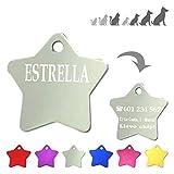 Iberiagifts - Placa de identificación en Forma de Estrella para Mascotas Medianas-Grandes Chapa Medalla de identificación Personalizada para Collar Perro Gato Mascota grabada (Plateado)