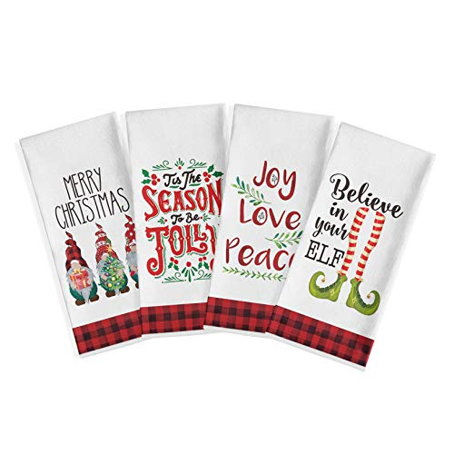 Artoid Mode Red and Black Buffalo Plaid Elf Gnomes Christmas Winter Quote Kitchen Dish Towels, 18 x 28 Inch Xmas Holiday Ultra Absorbent Drying Cloth Tea Towels for Cooking Baking Set of 4