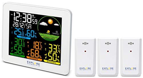 Explore Scientific WSH4005CGYE000 Stazione Meteo Radio-Controllata, Barometro con Previsioni del Tempo, 3 Sensori, Bianco