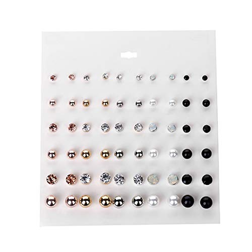 Lovinda Silber vergoldet Ohrstecker Set für Mädchen Frauen 30-Paar Bunte Diamant Zirkon Ohrringe Ohrstecker Set für Damen Schmuck Weihnachten Geburtstagsgeschenke x 1 Set