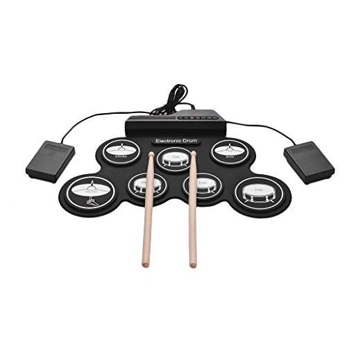 Qinmo Percusión, 7 Pads batería electrónica, Roll juego de batería hacia arriba con el auricular gato eléctrico de batería Pad de práctica con pedales palillos for niños, Negro, Color: Negro
