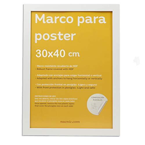 Nacnic Marco Blanco para Fotos, Posters, láminas, Diplomas. Tamaño(30x40 cm).Robusto de MDF y Frontal de plexiglas.Marco Blanco para Colgar