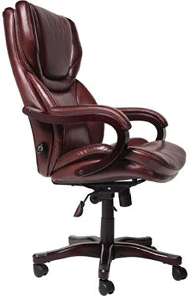 Bonded Leather Office Chair Brown Adjustable Lumbar Mechanism Provides Additional Support For The Lower Back Just When You Need It Ergonomic Tilt Mechanism With Infinite Locking
