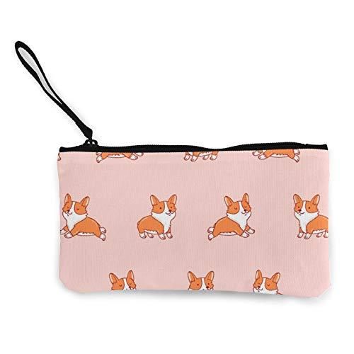 Moneda de lona, lindo patrón Corgi monedero con cremallera bolsa de cosméticos de viaje multifunción bolsas de maquillaje para teléfono móvil, paquete de lápices con asa