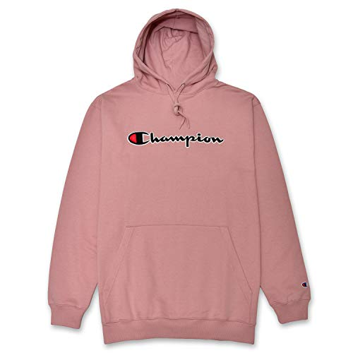 Champion Mens Big and Tall Hoodie Sweatshirt with Embroidered Script Logo Blush 2XT