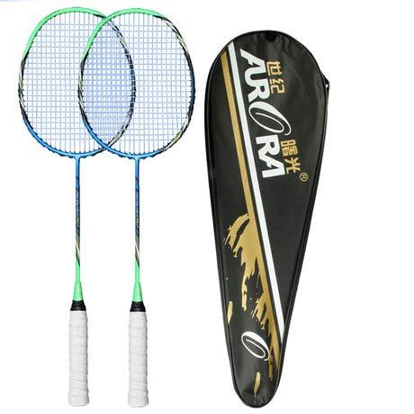 jisheng Badmintonschläger Carbonfaser-Badminton-Turnier Zwei Erwachsene Kinder und Jugendliche geladen Schläger Badmintonschläger leichte hohe Qualität-blau-