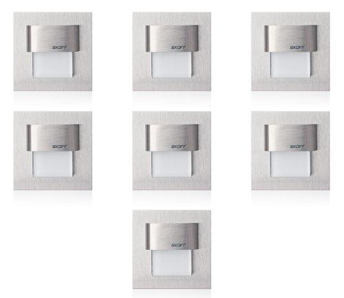 7er Set TANGO MINI, LED Treppen- Wandbeleuchtung, Edelstahlgehäuse, warmweiß, incl. Transformator