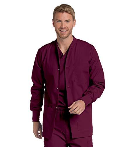 Landau Herren Men's Warm-up Scrub Jackets Krankenhauskleidung, Oberteil, Wein, X-Large