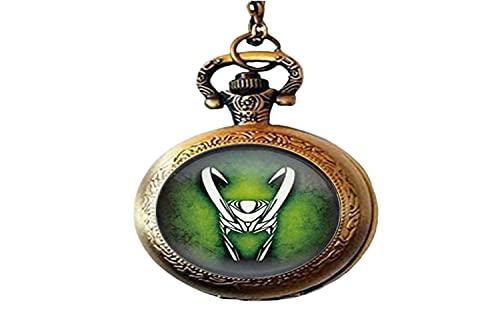 Reloj de bolsillo con diseño de Dios de la vendimia Loki God Art de cristal para hombre y mujer como regalo