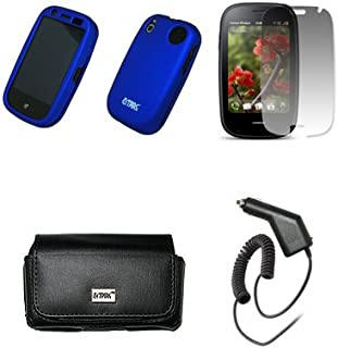 EMPIRE Svart läderväska med bältesklämma och bältesöglor + blå gummerat snap-on fodral + skärmskydd + billaddare (CLA) för...
