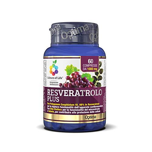 Colours of Life Resveratrolo Plus - Integratore di Resveratrolo - Antiossidante, Supporta la normale Funzionalità dell'Apparato Cardiovascolare - Senza Glutine e Vegano, 60 Compresse