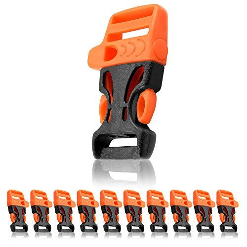 Ganzoo Set de 10 cierres de clip de 19,05 mm de liberación rápida, con silbato y eslabón, de plástico para pulsera de paracord, cuerda o cinturón, 54 x 33mm, tamaño L, color negro y naranja