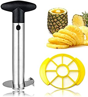 [Upgraded] Pineapple Corer and Slicer, Thicker 304 Stainless Steel Pineapple Cutter/Peeler with Wedger, Remover with Sharp...