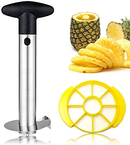 Upgraded Pineapple Corer and Slicer Thicker 304 Stainless Steel Pineapple Cutter/Peeler with Wedger Remover with Sharp Blades Slicer Cutter for Diced Fruit Rings Easy to Clean