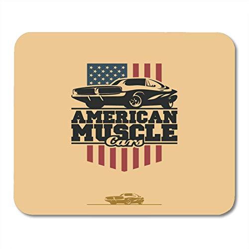 Luancrop Mausunterlage Weinlese-amerikanisches Muskel-Auto-Aufkleber-Rennen klassisches Retro altes Mousepad für Notizbücher, Tischrechner-Mausunterlagen, Bürozubehöre
