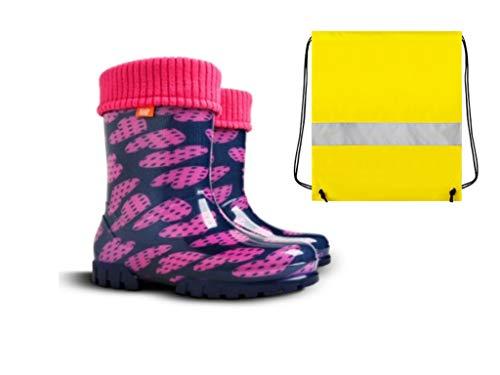 Demar Gummistiefel Kinder Regenstiefel Kinderstiefel gefüttert mit Innensocken Mädchen Jungen Herzen + Schuhbeutel Neongelb (26/27)