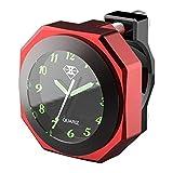 BEST4U - Reloj de Moto Resistente al Agua, Luminoso, 22-28 mm, Esfera Impermeable (Rojo)