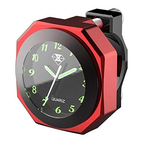 BEST4U Motorrad Uhr Wasserdicht leuchtend 22mm - 28mm Cabrio Uhr Motorrad Wasserdichtes Zifferblatt(rot)