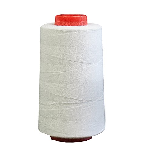 6000 Yards White Sewing Thread All Purpose 100% Spun Polyester Spools Overlock Cone (Upholstery, Canvas, Drapery, Beading, Quilting)