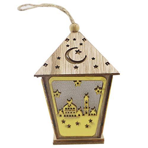 ODM Wooden House L-ED Lamp with String Eid Mubarak Hanging Ornaments Decoration P-endant DIY Craft
