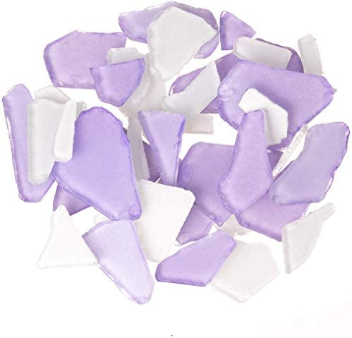 Sea Glass 11oz Purple White Sea Glass Tumbled Sea Glass Decor Bulk Purple White Seaglass Pieces product image