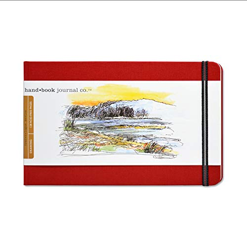 Travelogue Drawing Book, Large Landscape 5-1/2 x 8-1/4, Vermilion Red Artist Journal