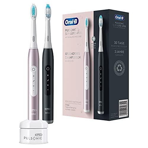 Oral-B Pulsonic Slim Luxe 4900 Doppelpack Elektrische Schallzahnbürste für gesünderes Zahnfleisch in 4 Wochen, 3 Putzprogramme inkl. Sensitiv, Timer, 2 Aufsteckbürsten, schwarz/rosegold