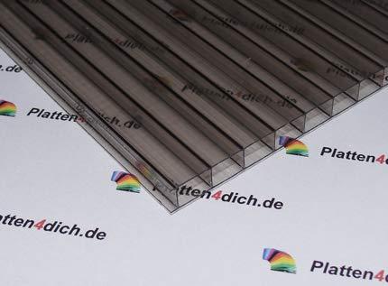 Polycarbonat Dachplatte Stegplatte Dick:8 mm Farbe: Bronze, Größe: 730 mm x 1530 mm - Wunschmaße auf Anfrage. für Terrasse | Carport Gartenhaus