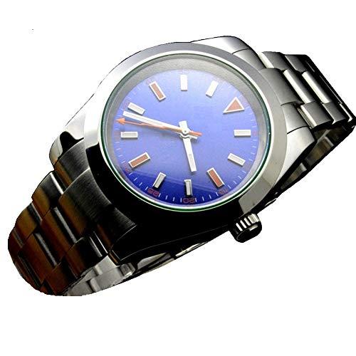 Tickwatch Parnis Herren-Armbanduhr, 36 mm, blaues Zifferblatt, automatisch, mechanisch, Saphirglas, Edelstahl, mechanische Armbanduhr