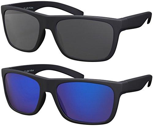 La Optica B.L.M. Herren Sonnenbrille UV400 Männer Sportbrille Fahrradbrille - Doppelpack Set Gummiert Schwarz (Gläser: Grau, Blau Verspiegelt)
